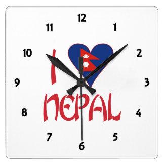 I Love Nepal Square Wall Clock