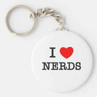 I Love Nerds Basic Round Button Keychain