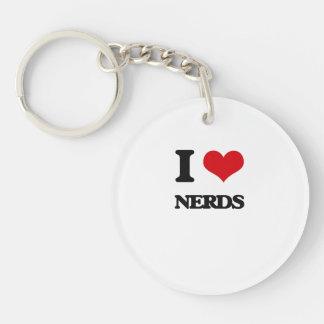 I Love Nerds Single-Sided Round Acrylic Keychain