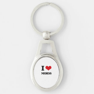 I Love Nerds Silver-Colored Oval Keychain