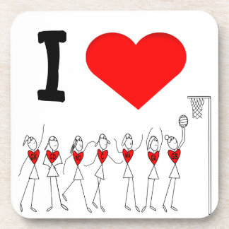 I Love Netball Heart Design Coaster