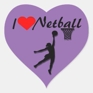 I Love Netball Picture Heart Sticker