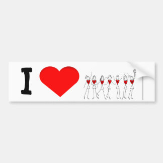 I Love Netball Player and Hearts Bumper Sticker
