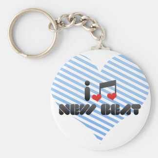 I Love New Beat Basic Round Button Keychain