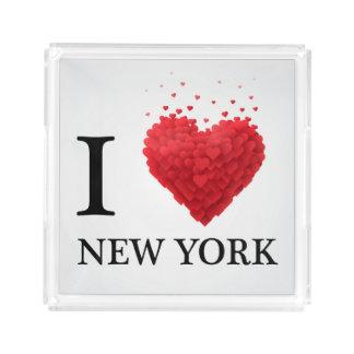 I Love New York Hearts Acrylic Tray