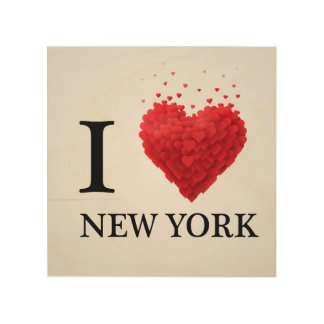 I Love New York Hearts Wood Canvases