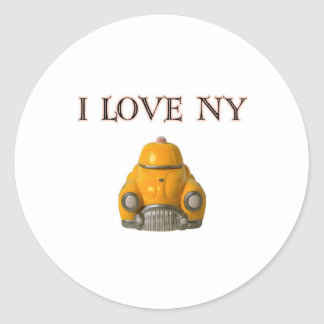 I Love New York Yellow Checkered Taxi Cab Round Sticker