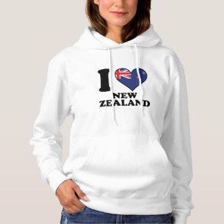 I Love New Zealand Kiwi Flag Heart Hoodie