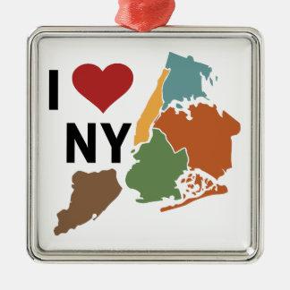I Love Newyork Silver-Colored Square Ornament