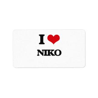 I Love Niko Address Label