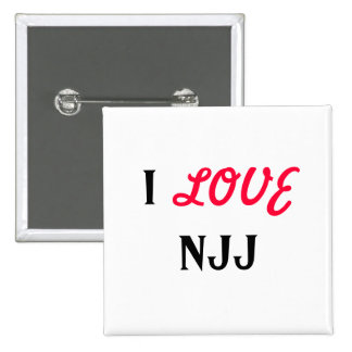 I, LOVE, NJJ 2 INCH SQUARE BUTTON
