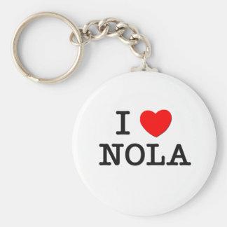 I Love Nola Basic Round Button Keychain