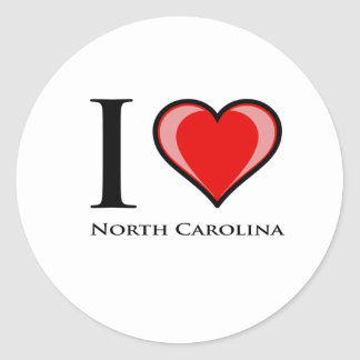 I Love North Carolina Classic Round Sticker