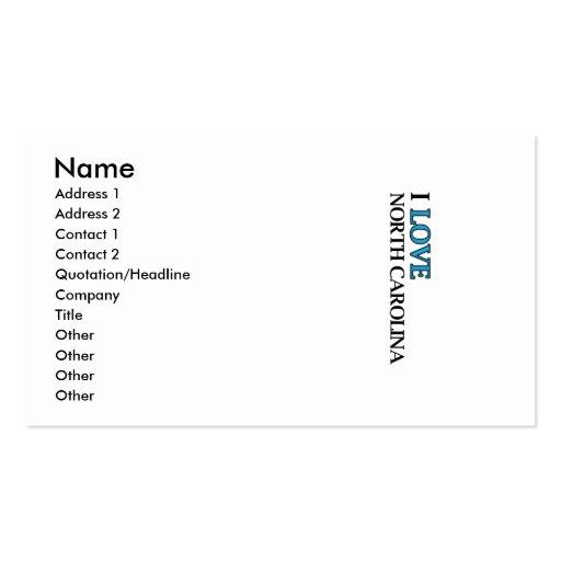 I Love North Carolina Design Pack Of Standard Business Cards