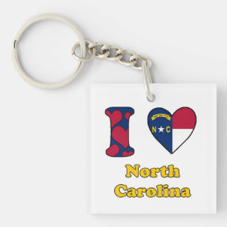 I love North Carolina Single-Sided Square Acrylic Keychain