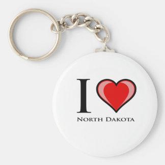 I Love North Dakota Basic Round Button Keychain