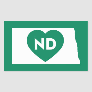 I Love North Dakota State Rectangle Stickers