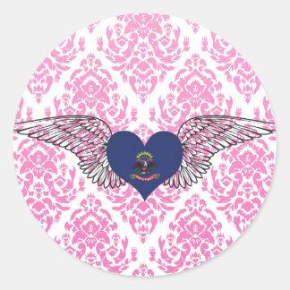 I Love North Dakota -wings Classic Round Sticker