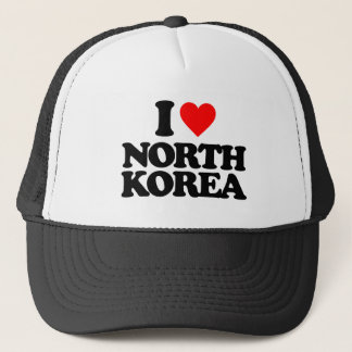 I LOVE NORTH KOREA TRUCKER HAT
