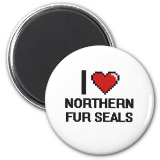 I love Northern Fur Seals Digital Design 2 Inch Round Magnet
