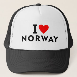 I love Norway country like heart travel tourism Trucker Hat