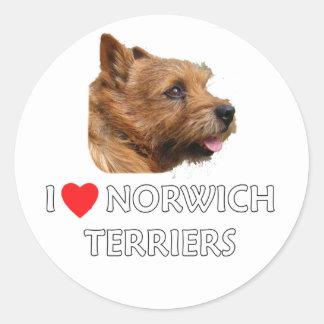 I Love Norwich Terriers Round Sticker