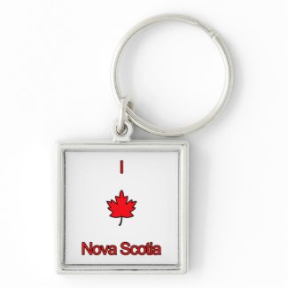 I Love Nova Scotia Silver-Colored Square Keychain