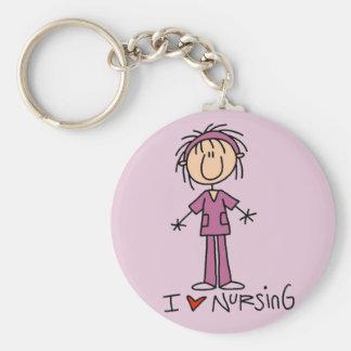 I Love Nursing Tshirts and Gifts Basic Round Button Keychain