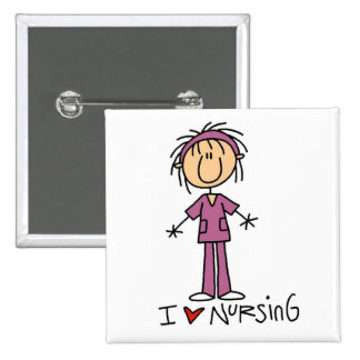 I Love Nursing Tshirts and Gifts 2 Inch Square Button