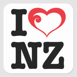 I Love NZ Square Sticker