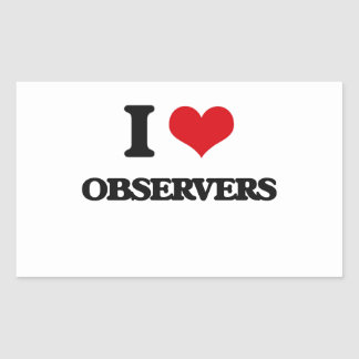 I Love Observers Rectangle Stickers