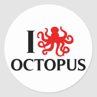 I Love Octopus Classic Round Sticker