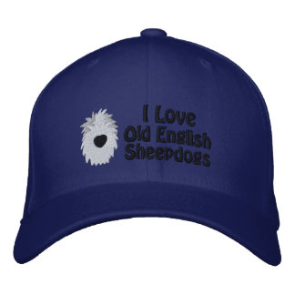 I Love Old English Sheepdogs Embroidered Hat