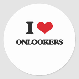 I Love Onlookers Round Stickers