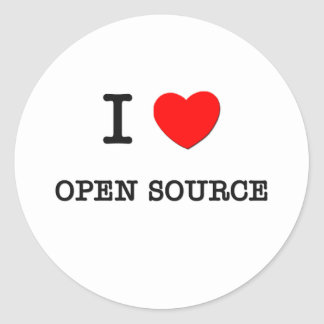 I LOVE OPEN SOURCE CLASSIC ROUND STICKER