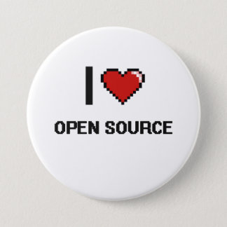 I Love Open Source Digital Retro Design 3 Inch Round Button