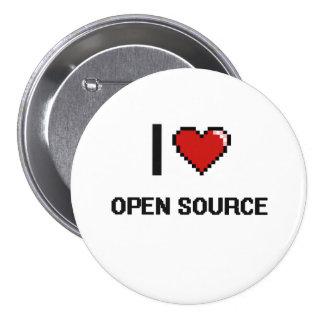 I Love Open Source Digital Retro Design 3 Inch Round Button