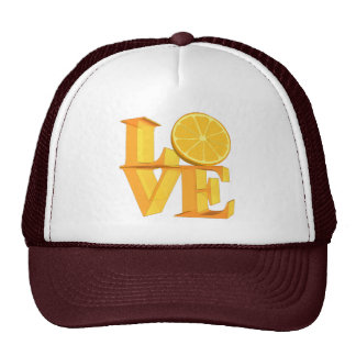 I LOVE ORANGE(TANGERINE/MANDARIN) TRUCKER HAT