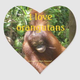 I Love Orangutans Heart Sticker