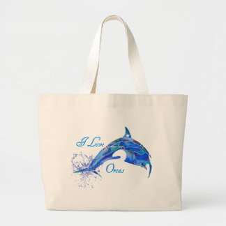 I LOVE ORCAS BLUE LARGE TOTE BAG