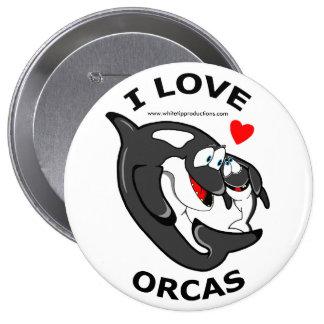 I love Orcas fun badge 4 Inch Round Button