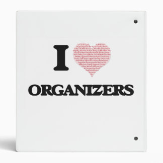 I love Organizers (Heart made from words) 3 Ring Binders