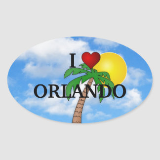 I LOVE ORLANDO - PALM TREE AND SUNSHINE OVAL STICKER
