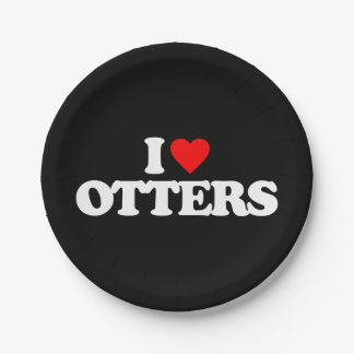 I LOVE OTTERS PAPER PLATE