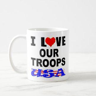 I Love Our Troops USA Coffee Mug