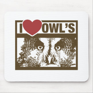 I Love Owls Mouse Pad