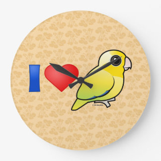 I Love Pacific Parrotlets (yellow) Large Clock