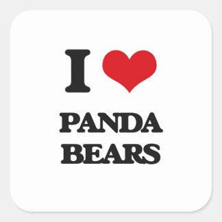 I love Panda Bears Square Sticker