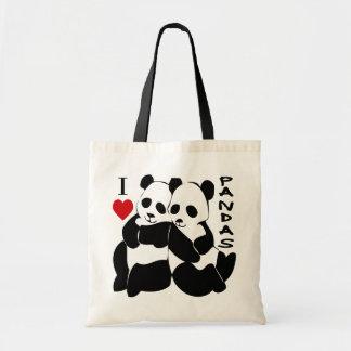I Love Pandas Budget Tote Bag
