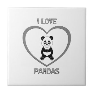 I Love Pandas Ceramic Tiles